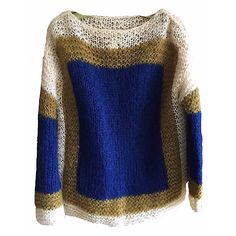 Wool Mohair Sweater Maidenform royal blue mustard knit mens womens vintage pullover long sleeve sportmaker italian hand knit italy cable rad by VELVETMETALVINTAGE on Etsy