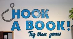 Hook a Book - Gives me an idea. Use fishing gear from thrift stores for book display. Cut up a net for holding the individual display books. Fishing poles for sides maybe? Not sure, but this is a good idea. Future Classroom, Classroom Themes, Classroom Organization, Classroom Design, Classroom Management, Library Themes, Library Displays, Library Ideas, Book Displays