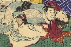 Shunga. Attributed to Utagawa Kuniharu (active 1855-1883). An older man, who is a pilgrim, having sex with a young woman. An abundance of vaginal fluid. - Japan -  Ca.: 1860-1870