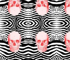 zeebra_red_skull fabric by funky_lollipop on Spoonflower - custom fabric