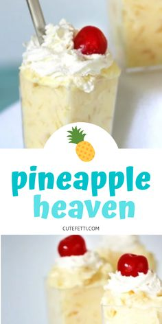 3 Ingredient Pineapple Dessert comes together with 3 ingredients. Best pineapple dessert I've tried… ever. Only 3 ingredients to make this. Husband asks for this over and over again. Mini Desserts, Fluff Desserts, Cold Desserts, Summer Desserts, Easy Desserts, Delicious Desserts, Yummy Food, Pineapple Dessert Recipes, Fruit Recipes