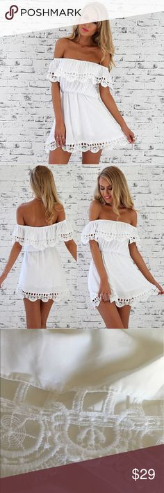 🌿Off the Shoulder White Eyelet Mini Dress🌿 Super cute and flirty off the shoulder white eyelet summer dress! Ruffles at chest, eyelet design, flowy polyester material. Light and very comfortable! Perfect for warm summer days! Brand new from manufacturer🌷 Boutique Dresses Mini