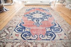6x9.5 Distressed Oushak Carpet by oldnewhouse on Etsy