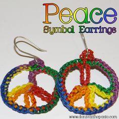 A free crochet pattern for peace symbol earrings.