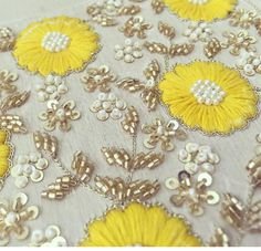 Pernia Qureshi # mellow yellow # hand crafted beauty # fashion Pearl Embroidery, Zardozi Embroidery, Tambour Embroidery, Bead Embroidery Patterns, Hand Work Embroidery, Couture Embroidery, Creative Embroidery, Hand Embroidery Designs, Beaded Embroidery