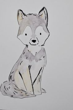 Original wolf pup ink sketch with by TwoRiversCraftingCo on Etsy