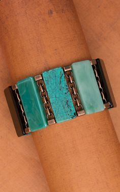 Turquoise and Bronze Stretch Bracelet