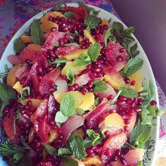 Citrus Salad with Wild Rocket, Pomegranate Seeds, and Fresh from the Garden Mint #Spring via La Femme Epicure