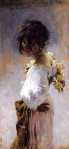 """Rosina"", Oil on Canvas, Impressionism Portrait, 1878 by John Singer Sargent. This sensual beauty had herself painted at least twice by Sargent, this portrait and then from a distance dancing on a roof-top. But, there are other Street Genre Paintings that show an onion seller, female, though not depicted as well as Rosina. You did notice the onions hanging over her right shoulder didn't you?"