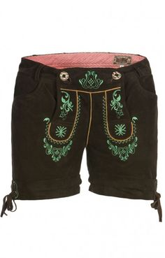 German LEDERHOSENN Elfi Leather Shorts apple green