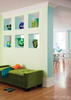 This beautiful home features spacious and bright rooms decorated in light blue and green colors House Of Turquoise, Turquoise Room, Green Turquoise, Teal, Blue, Green Color Schemes, Bright Rooms, New England Homes, House And Home Magazine