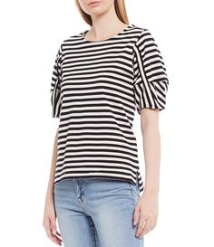 Ella Moss Connie Stripe Short Puff Sleeve Top - Black Stripe S Black And White Shirt, Black Tops, Tankini Swimsuits For Women, Ella Moss, Striped Shorts, Black Stripes, Everyday Fashion, Spring Summer Fashion, My Style