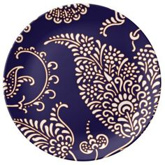 Damask vintage paisley girly floral henna pattern dinner plate