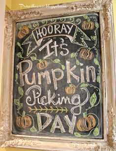 Priscillas: It's A Pumpkin Picking Chalkboard The Great Pumpkin Patch, Pumpkin Patch Farm, A Pumpkin, Pumpkin Spice, Pumpkin Head, Chalkboard Signs, Chalkboard Ideas, Halloween Chalkboard, Chalkboard Drawings
