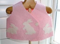Simply sweet. Sashiko stitched baby felt vest with bunny appliques.