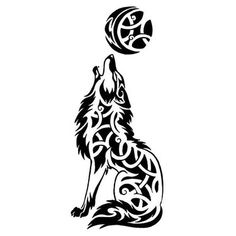 Celtic Wolf Howling At The Moon Tattoo Design