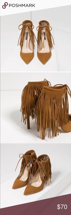 Fringed leather high heel shoes Fringed leather high heel shoes size 6.5 USA, 37 EU, authentic leather, heel 4 inches Zara Shoes Heels