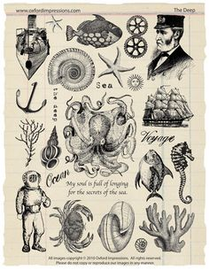 The Deep Rubber Stamp Collection - Jules Verne. $24.00, via Etsy.