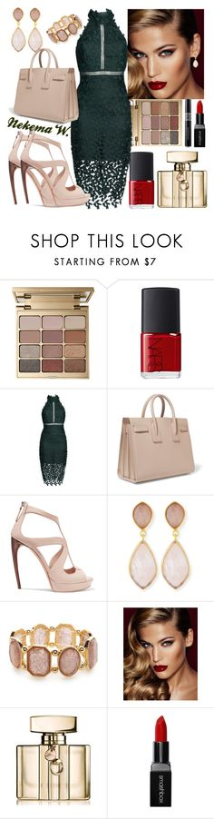 """"" by sexyshonda ❤ liked on Polyvore featuring Stila, NARS Cosmetics, Bardot, Yves Saint Laurent, Alexander McQueen, Dina Mackney, Kim Rogers, Charlotte Tilbury, Gucci and Smashbox"