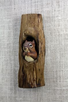 Squirrel Wood Carving Hand Carved by Mike Berlin