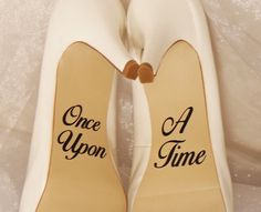 As soon as Upon A Time Marriage ceremony Shoe Decals Shoe Decals Disney Marriage. On Your Wedding Day, Wedding Bride, Perfect Wedding, Wedding Dresses, Wedding Ceremony, Magical Wedding, Elegant Wedding, Bride Groom, Disney Wedding Shoes