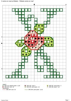 Alfabeto verde con rose: X