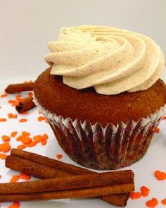 Pumpkin pie cupcake, Treat Cupcake Bar: Fall treats at the Cupcake Bar include pumpkin cupcakes with cinnamon frosting, while winter favorites, coming soon, include blueberry vanilla cupcakes topped with maple frosting and candied walnuts.