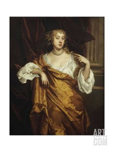 Portrait of the Hon. Mary Wharton in a White Chemise and Yellow Robe Art Print by Peter Lely at Art.com