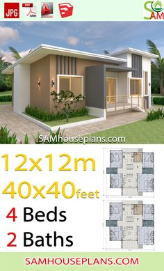 House Plans 12x12 Meter Shed roof 40x40 Feet - SamHousePlans Model House Plan, Shed House Plans, Diy Shed Plans, Small House Plans, 4 Bedroom House Plans, Cabin Plans, Contemporary Sheds, Modern Shed, Flat Roof House