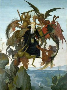 Микеланджело Искушения святого Антония. 1487—1489 47 × 35 см Художественный музей Кимбелла, Форт-Уорт, Техас