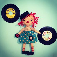 Record Playing Sock Hop DIY Raggedy Ann Doll Pattern. Primitive Artist Sherry Marrero from anniescupboards.com on Etsy