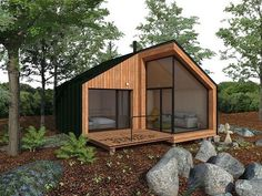 Details of the Garden Shed Plan🏚 Container House Design, Tiny House Design, Wooden Dolls House Furniture, Home Design Magazines, Tiny House Cabin, Micro House, Forest House, Modular Homes, Architect Design