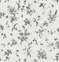 Sample Vivace Floral Trail Wallpaper in Black and White by Brewster Home…