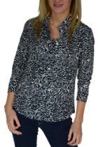 Junior's SILK Animal print quarter sleeve Button down shirt-blouse