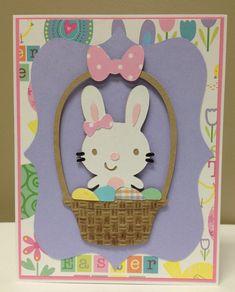 "Recipe:  A2 card  Pink mat @ 4 1/8"" x 5 3/8""  Printed mat @ 4"" x 5.25""  Purple mat @ 5"" from Elegant Edges (button 5)  Bunny in a Basket &..."