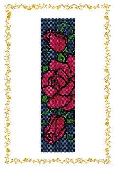 Браслет Дикие розы. Схема бисероплетения двойной от HoneyPear, $3.50