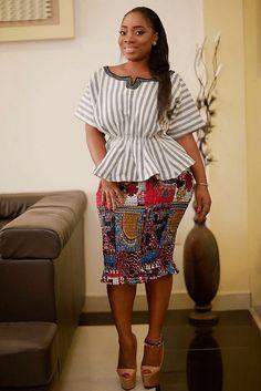 Moesha Boduong in ntoma skirt and batakari top, African fashion, Ankara, kitenge, African women dresses, African prints, African men's fashion, Nigerian style, Ghanaian fashion, ntoma, kente styles, African fashion dresses