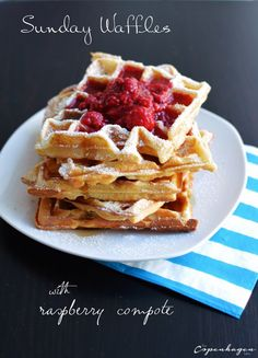 Sunday morning waffles with warm raspberry compote - The Copenhagen Tales