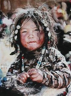 Watercolor portrait painting by Liu Yunsheng Watercolor Portraits, Watercolour Painting, Painting & Drawing, Watercolours, L'art Du Portrait, Zebra Art, Guache, We Are The World, Asian Art