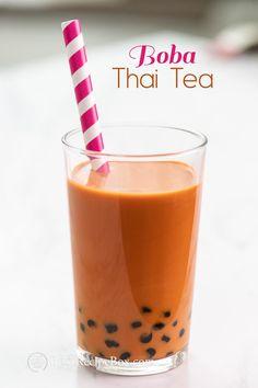 Thai Bubble Tea Recipe that's a combination of thai iced tea with bubble tea. Love bubble milk tea or boba pearl milk tea, the sweet flavors of this Iced thai tea Thai Tea Boba, Thai Milk Tea, Thai Ice, Boba Tea Recipe, Bubble Tea Flavors, Bubble Recipe, Thai Tea Recipes, Milk Tea Recipes, Recipes