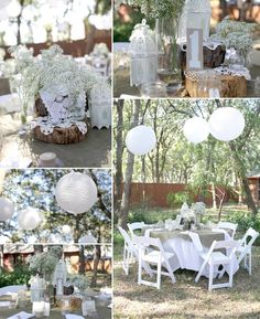 Vintage wedding decor with burlap, tree stumps and baby's breath