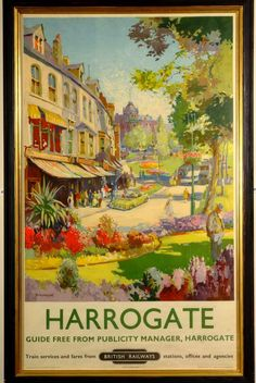 Canvas Print (other products available) - Poster produced by British Railways (BR) to promote rail services to the Yorkshire spa town of Harrogate. Artwork by Jack Merriott - Image supplied by National Railway Museum - Canvas Print made in Australia Old Posters, Train Posters, Railway Posters, Retro Posters, Poster Size Prints, Art Prints, Print Poster, National Railway Museum, Travel Ads