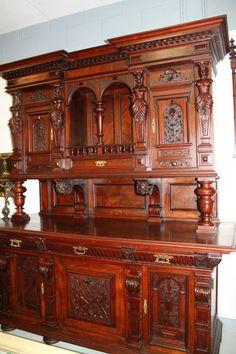 American Victorian Rococo Carved Walnut Sideboard