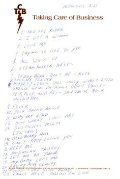 Set list for his 1974 concert in Memphis, written by Elvis Presley.