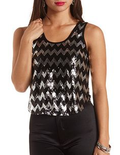 Sequin Chevron Tank Top: Charlotte Russe