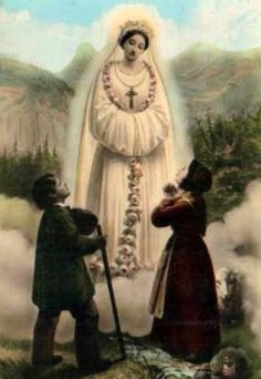 Our Lady of La Salette, France - vintage Holy card Catholic Prayers, Catholic Art, Catholic Saints, Religious Pictures, Religious Icons, Religious Art, Blessed Mother Mary, Blessed Virgin Mary, La Salette