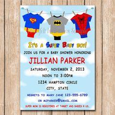 Super Baby Shower Invitation - Super hero babies, onesie, clothesline- 1.00 each printed or 10.00 DIY file on Etsy, $1.00