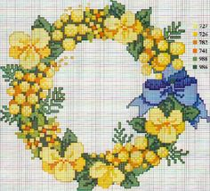 Punto croce - Schemi Gratis e Tutorial: Schemi a punto croce: mimose e fiori primaverili