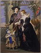 """This magnificent portrait shows the artist with his second wife and one of their five children strolling in a """"Garden of Love."""" The child wears male attire and must be Frans (1633–1678). He appears without his older sister because the picture is not a family portrait but an homage to Helena as wife and mother, one of whose most important attributes was providing her husband with a son"""