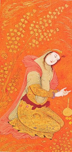 1628 A Woman Counting on her Fingers. Safavid, persian court painter Riza Abbasi.